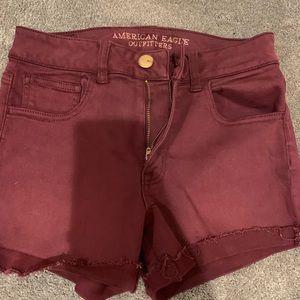 Pants - Maroon American Eagle high waist shorts